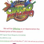 Come visit us for the Cinco De Mayo. We have exciting specials for Margaritas and Beers