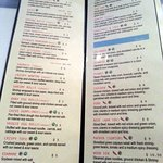 pages 1 & 2 of menu