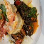 Special Nero pasta with spicy prawns