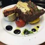 450g Rib Eye - 21 day dry aged. Served with golden roasted potatoes and seasonal vegetables.