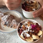 Granola with fruit and coconut yoghurt