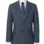 "Harris Tweed Limiter Edition Jacket ""Callum"" Blue Herringbone with Paisley Lining"