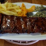 650g Ribs served with chips & veg - Delish!!