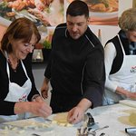 Chef Enrico coaching the gnocchi makers.