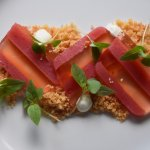 Strawberry and Champagne terrine with Mahleb crumble