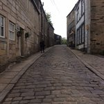 steep cobbled road