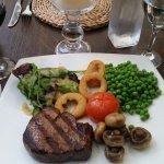 Filet steak with veggies and salad