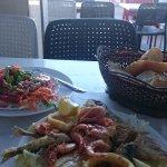 Mixed fish and salad..