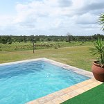 Pooldeck with view of open field