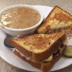 Turkey cream soup and sandwich