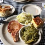 Smoked pork chop, cabbage, green beans, corn bread