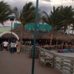 Standing on the Pier looking at the outside dining area where we were seated at Sharky's