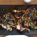 Garlic mushrooms on toast, prawn and crayfish cocktail, sweet potato fries & beetroot & feta sal