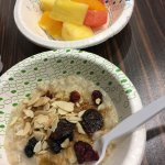 Fruits and oatmeal.