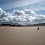 The marvellous wild Tramore beach and Derryveagh mountains