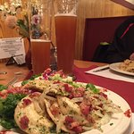 Perogies with salad - delish!! Goes great with the Paulaner Hefe-Weizen on tap🍺