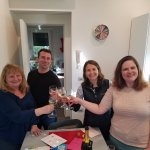 Toasting with the gifted prosecco in the kitchen of the domus priscilla aparment