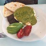 Tortillas, beans, eggs, avocado