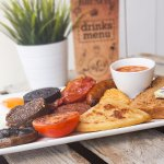 Full Scottish Brunch breakfast served with free range eggs of your choice and toast