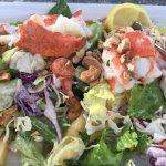 Lobster, Shrimp, Mango, Cashew Nuts Cobb Salad with a citrus dressing. YUM!!