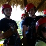 Zip lining with the boys