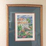 Old print with sagging frame