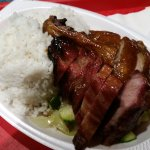 BBQ pork and duck rice dish
