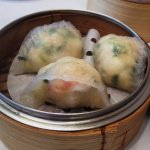 Shrimp, dried scallops and spinach dumplings