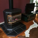 The modern gas fireplace makes the room warm and cosy - no firelighting experience necessary!
