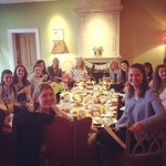 All of us at my friend's baby shower having afternoon tea