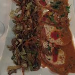 Veal Saltimbocca Perusia served with stir-fry vegetables and chips