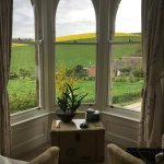 Seating area over the rolling Dorset countryside