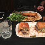 Wagyu Mini Beef Burgers, and Fish and Chips