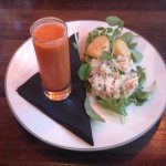 Crab & Scallops served with Gazpacho