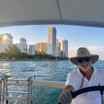 Captain Ramos sailing on front of downtown Miami