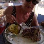 My mum enjoying her steak ;)