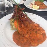 Chicken with mushroom and prawns on crushed new potatoes, came with selection of fresh vegetable