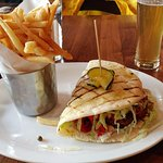 Falafel sandwich, fries and beer