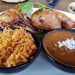 Grilled chicken, rice and charro beans.