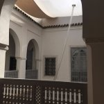 Plastic sheet covering the Couryard. You will love the fresh air when you step outside the riad