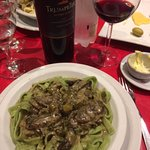 Green Pasta, with pesto sauce and red wine