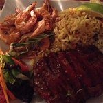 sirloin with prawns (more like shrimps)