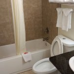 Nice clean bathroom - dual flush toilet