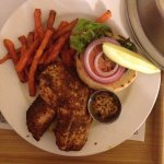 Room service. Salmon burger w/ sweet potatoes fries! Delicous