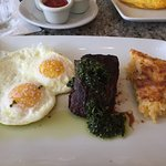 Steak and eggs with hash brown casserole