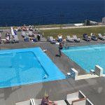 Greek dancing in reception for evening entertainment  2 full size pools and children's salt wate