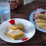 Snack at traditional Khmer house