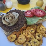 fresh burger with baked plantains