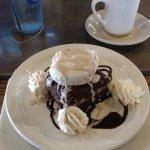 Tan and Black dessert....brownie with cinnamon ice cream
