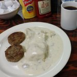Biscuits, gravy and sausage patties